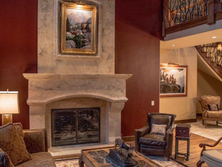 Travertine Overmantel Fireplace